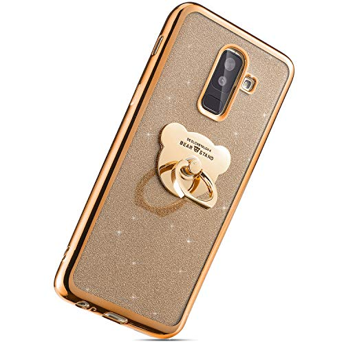 Herbests Kompatibel mit Samsung Galaxy J8 2018 Handyhülle, Glitzer Kristall Bling Glänzend Schutzhülle Durchsichtig Handytasche Silikonhülle mit Bär Ring Fingerhalterung Ständer,Gold