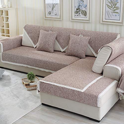 Linne soffa överkast med spets halkskydd soffskydd heltonsfärg helsäsong sektionssoffa överdrag möbelskydd för soffa, kärleksstol, ligging, stol – a 43 x 63 tum (110 x 160 cm)