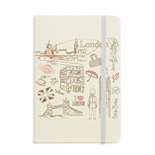 DIYthinker I Love London Britain Big Ben Bus Notebook Stof Hard Cover Klassiek Dagboek A5 A5 (144 X 210mm) Multi kleuren