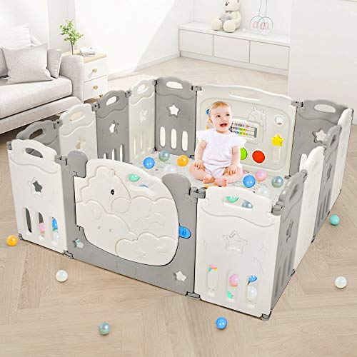 Foldable Baby Playpen, Dripex Safety Baby Gate Play Yard, Portable Indoor & Outdoor Kids Activity Center Baby Fence with Sensory Toys & Whiteboard for Toddlers