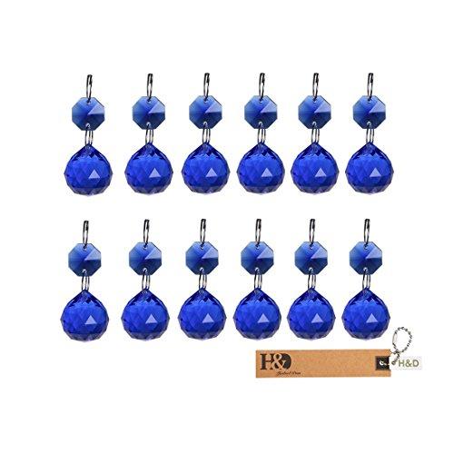 H&D 20 mm Kristall Kugel Prismen Kronleuchter Drop Anhänger Lampe Kandelaber Teile, 10 Stück, blau