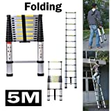 5M Aluminium Telescopic Ladder Extension Portable EN131 Standards Folding 13 Steps Max Load 150kg, 3 Years Warranty