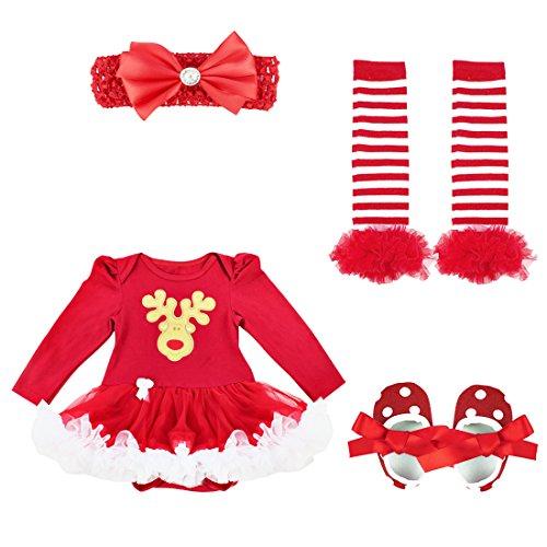 Alvivi 4 Piezas Ropa de Navidad Bebés Recién Nacido Disfraz Elfo Navideño de Primer Navidad Dibujos Vestido Princesa Niña Bebé con Tutú Zapatos Infántil Rojo Reno 6-9 Meses