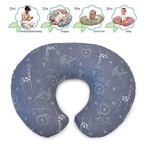 Boppy Cojín de Lactancia para bebés de 0 Meses, Forma ergonómica con Inserto Miracle Middle Insert – Cojín de Lactancia y Nido para bebé para Lactancia, cojín de Asiento para bebé, diseño Vaquero