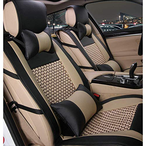 10 PCS Universal PU Leather Front and Rear Car Seat Cushion Cover Needlework Ice Silk Seat Pad Protectors with Health Care Pillows for Year-Round Use (Airbag Compatible)
