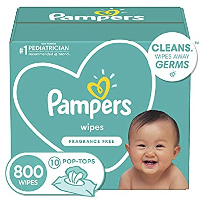 Baby Wipes, Pampers Baby Diaper Wipes, Hypoallergenic and Unscented, 10X Pop-Top Packs, 800 Count