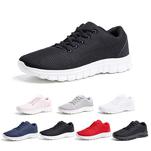 Zapatillas Running Hombre Mujer Zapatos Deportivos con Cordones Casuales Sneakers Sport Fitness Gym Outdoor Transpirable Comodas Calzado Negro Blanco Talla 39