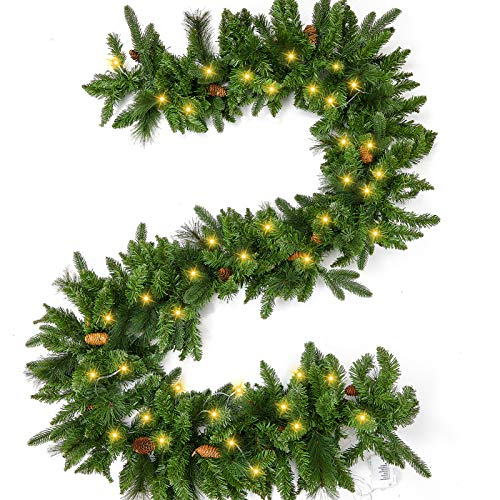 9 Foot Pre-lit Christmas Garland with Lights, Artificial Pine Garland, Waterproof Battery Operated Lighted Garland Christmas Decorations, for Indoor Outdoor Home Xmas Holiday Mantel Front Door Decor