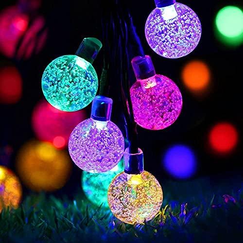 Guirnalda de luces solares, 30 luces LED con burbujas, 6,5 m, 8 modos, luces de estrellas, impermeables, luces decorativas para exteriores, bodas, viviendas, jardines, terrazas, fiestas (multicolor)
