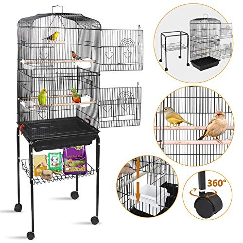 SUPER DEAL 59.3''/53'' Rolling Bird Cage Large Wrought Iron Cage for Cockatiel Sun