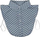 styleBREAKER Damen Blusenkragen Einsatz mit Punkte Muster und Knopfleiste, Kragen für Blusen und Pullover, Rockabilly Style 08020005, Farbe:Blau-Weiß