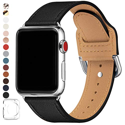 POWER PRIMACY Bands Compatible with Apple Watch Band 38mm 40mm 42mm 44mm, Top Grain Leather Smart Watch Strap Compatible for Men Women iWatch Series 5 4 3 2 1(Black /Silver,38mm 40mm)