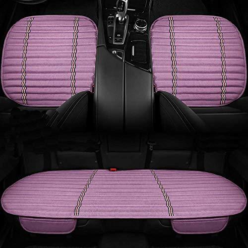 Cojín suave para asiento de automóvil, carbón de bambú con almohadillas interiores de cuero de PU para asiento de automóvil para viajes de oficina en casa, cuatro estaciones, universal, beige