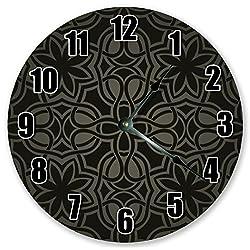 Sugar Vine Art 10.5 Black Damask Pattern Clock - Large 10.5 Wall Clock - Home Decor Clock