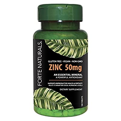Zinc Vitamin for Sensitive STOMACHS Daily Supplement 100 zinc Tablets 50mg by FORTE NATURALS Vegan, Non GMO, Gluten Free Paleo & Keto Easy to Swallow Zinc Vitamin Supplements Pills