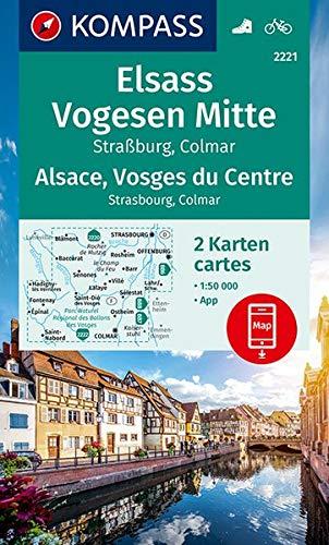 KV WK 2221 Elsass, Vogesen Mitte (2-K-Set): 2 Wanderkarten 1:50000 im Set inklusive Karte zur offline Verwendung in der KOMPASS-App. Fahrradfahren. (KOMPASS-Wanderkarten, Band 2221)
