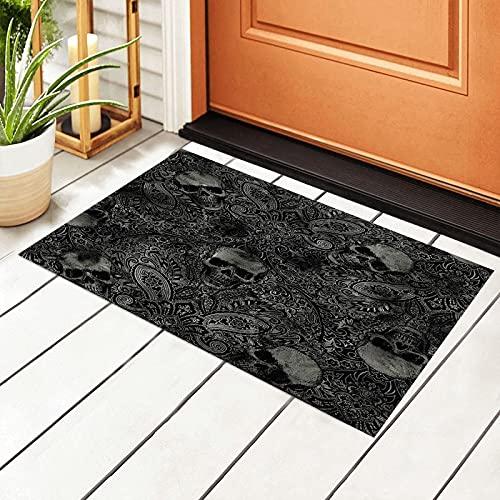 Spooky Black Gothic Skull Damask Welcome Door Mat Indoor&Outdoor Front Door Entrance Rug Patio Entryway Pad Floor Mats Non Slip Carpet PVC Backing Doormats