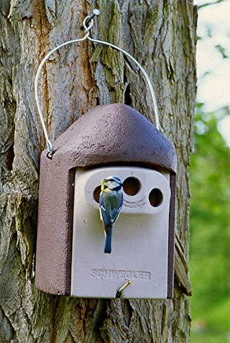 Naturschutzprodukt Vogel Nistkasten Nisthöhle Vogelhöhle Typ 2GR Dreiloch je Durchmesser 27 mm mit Marderschutz aus Holzbeton Höhe 31 cm Satz 2 Stück