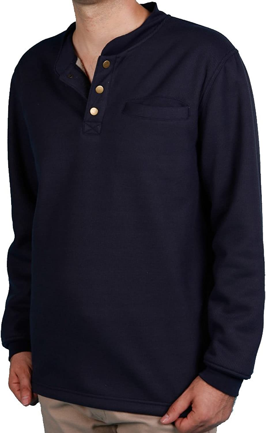 Woodland Supply Co. Men's Sherpa Lined Warm Winter Thermal Henley (XLarge Navy)