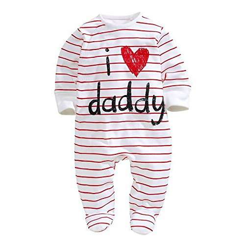 Baby Pure Cotton Long Sleeve Romper I love Mommy Daddy Onesies Jumpsuit (18-24Months, Daddy)