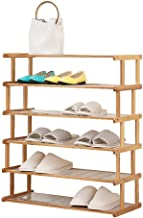 Household Shoe Rack Bamboo 6 Tier Simple Storage Cabinet Hallway Modern Wooden Versatile with dust pad (50cm,70cm,80cm)