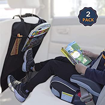 EcoNour Car Kick Mats Back Seat Protector  2 Pack    Durable Car Seat Protector for Kids with Storage Pockets Protection from Dirt Mud and Scratches   Car Seat Protector for Vehicle Back Seat