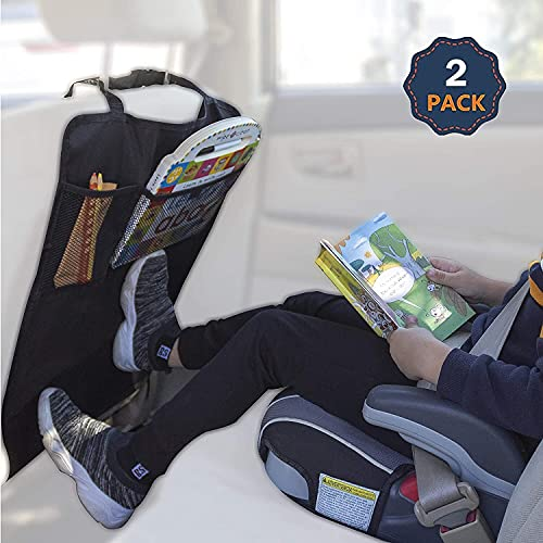 EcoNour Car Kick Mats Back Seat Protector (2 Pack)   Durable Car Seat Protector for Kids with Storage Pockets, Protection from Dirt, Mud and Scratches   Car Seat Protector for Vehicle Back Seat
