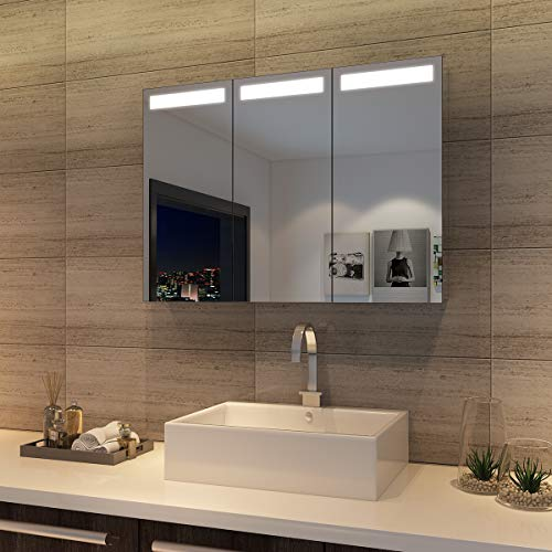 SONNI Spiegelschrank Bad mit Beleuchtung Hängeschrank mit 3 Spiegeltüren Badezimmerspiegel 90 x 65 cm Infrarot-Sensorschalter Badezimmerspiegel Spiegelschrank mit Rasierersteckdose