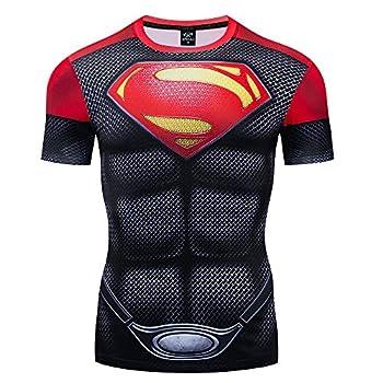 GYM GALA Men s Superman Short Sleeve 3D Printed Compression Sport Fitness T-Shirt  XXL Superman C