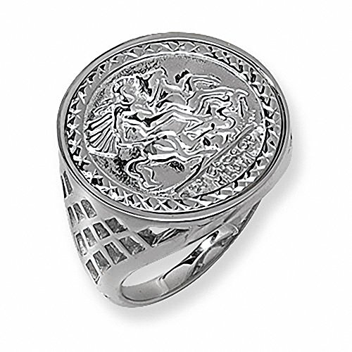 St George Ring Men's Solid Sterling Silver Gents Sovereign Coin (R)