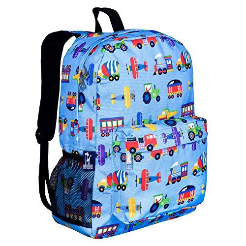 Wildkin 16 Inch Kids Backpack for Boys & Girls, 600-Denier Polyester Backpack for Kids, Features Padded Back & Adjustable Strap, Ideal for School & Travel Backpacks, BPA-free (Trains, Planes & Trucks)