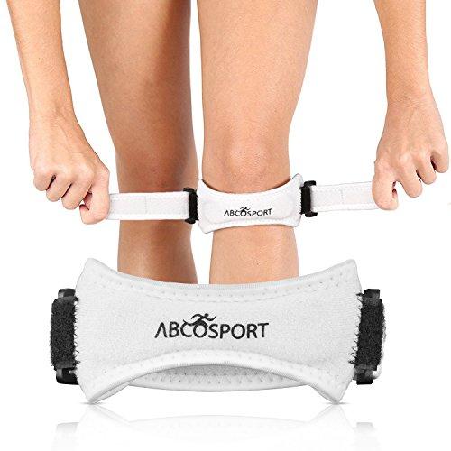 Abco Tech Patella Kniebandage zur Schmerzlinderung beim Wandern, Fußball, Basketball, Volleyball und Kniebeugen (1 Stück), ABC2185, weiß