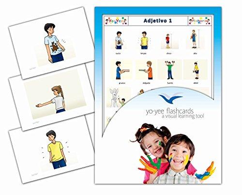 Yo-Yee Flashcards Tarjetas con Ilustraciones en español - Adjetivo 1 - para Clases de Idiomas y fomento del Aprendizaje del Idioma en guarderías, escuelas Infantiles y colegios