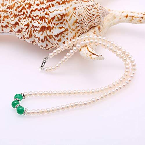 YMKCMC Perlenkette Choker Perlenkette 4,5 Mm Jade Natürliche Süßwasser-Zuchtkette Für Mädchen 16,5 Zoll AAA 4,5-5 Mm Weiß