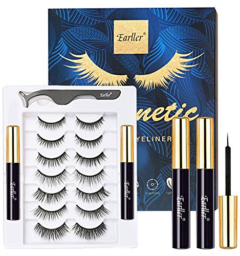 EARLLER 7 Pairs Magnetic Eyelashes with Eyeliner Kit, Natural Look False Lashes with Applicator - Easy to Apply and No Glue Needed, 3D & 5D Reusable Short and Long Eyelashes Set