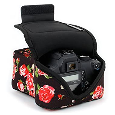 DSLR Camera Case/SLR Camera Sleeve (Floral) with Neoprene Protection, Holster Belt Loop and Accessory Storage by USA Gear - Works with Nikon D3400 / Canon EOS Rebel SL2 / Pentax K-70 & Many More