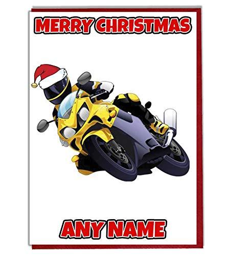 AK Giftshop Gepersonaliseerde gele motorfiets motorfiets thema kerstkaart