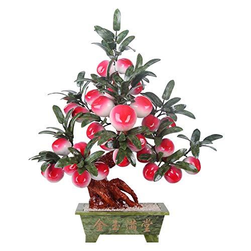Bonsai Decorative Árbol de durazno de bonsái artificial 22.8 pulgadas Faux Potted Plant Skin Desk Spank Fake Tree Pot Ornaments Bonsai Plant para Home, Office Decoration (Jade) Bonsai Tree
