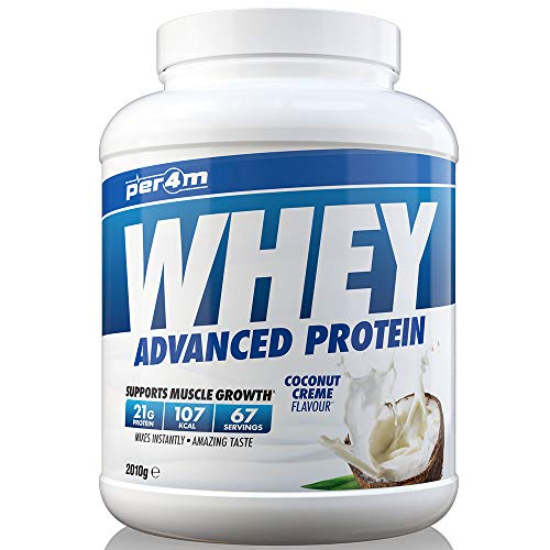 per4m Protein Whey Powder | 67 Servings of High Protein Shake with Amino Acids | for Optimal Nutrition When Training | Low Sugar Gym Supplements (Coconut Creme, 2010g)