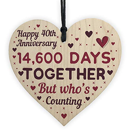 RED OCEAN Handmade Wooden Heart Plaque Gift To Celebrate 40th Wedding...