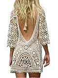 EDOTON Traje de Baño, Vestido de baño de Bikini con Encaje de Crochet y Espalda Abierta de Mujer (Blanco)