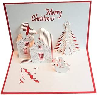 3D Greeting Card Pop-Up Birthday Card Advanced Handmade Christmas Castle Stereo Greeting Card Christmas Thanksgiving Day (10Pcs) 1015Cm