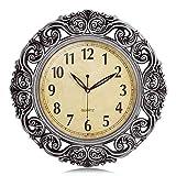 Lafocuse Reloj de Pared Grandes Plateado 43 cm Vintage Retro Silencioso Redondo Reloj de Cuarzo Forma de Flor Decorativo para Salon Comedor Oficina