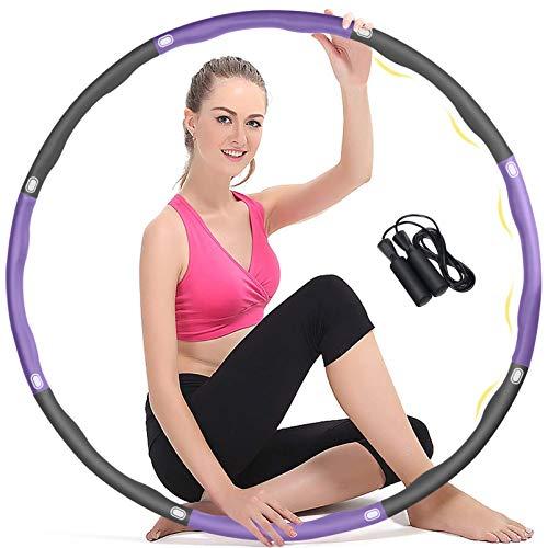 Aoweika Hula Reifen Hoop Erwachsene, 95cm 6-8 Abnehmbare Abschnitte Gewichtsverlust Reifen mit Seilspringen, Stabilere und Haltbarere, Verbesserte Dicke Schaum, Niemals Blaue Flecken