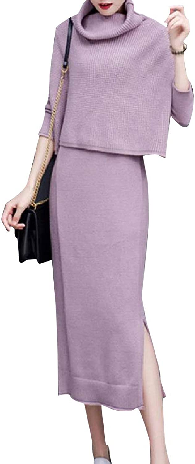 Andopa Women Premium Turtleneck Knitted Crochet Sheath Dress 2PC