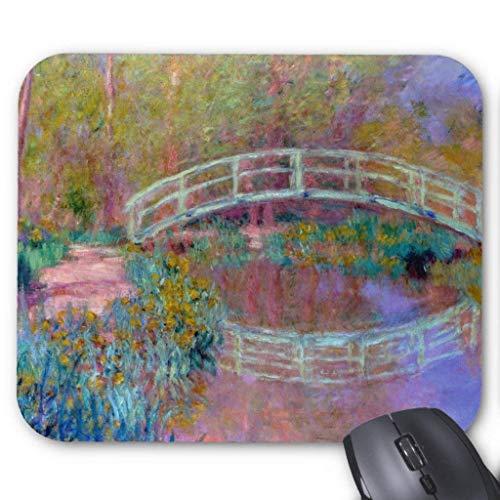 Accesorios de ordenador pulsera anti-fricción puente japonés, Claude Monet Mouse Pad 18X22