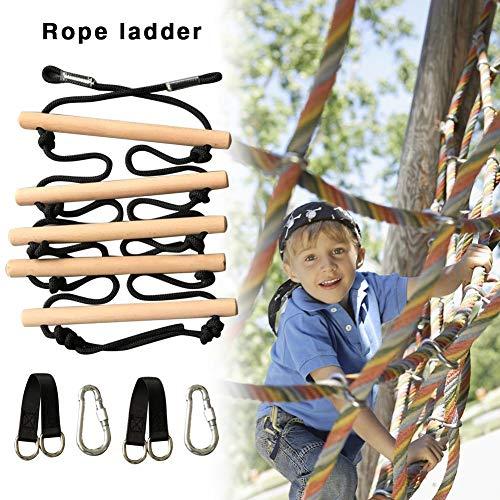 Kletterleiter Für Kinder Outdoor, Strickleiter Kinder, Kletterleiter Für Kinder Holz Mit 5 Prossen, Schaukelleiter Garten Für Indoor & Outdoor, Für Kinder Und Erwachsene