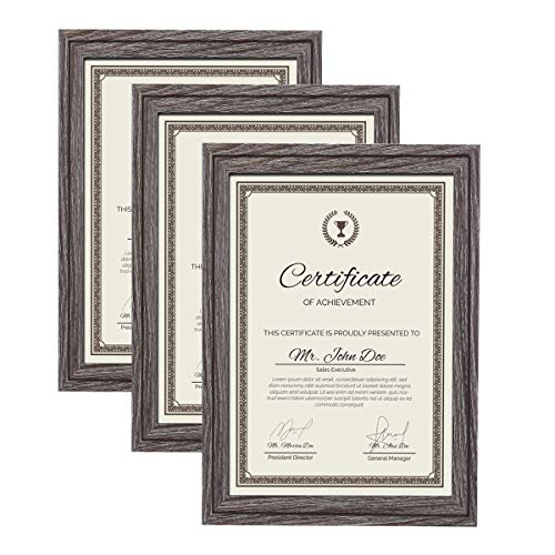 Metrekey A4 Picture Frame (3 Pack, Gray Oak Woodgrain), Certificate Photo Frame,for Table Top Display and Wall mounting