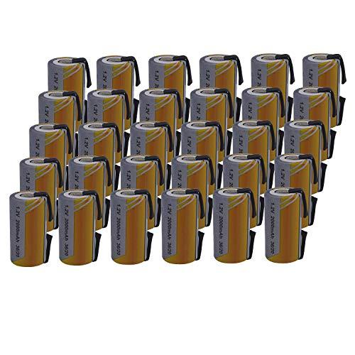 30 X Batteria Pila SC 2000mAh 2.0Ah Ni-Cd 1,2V con lamelle a saldare per pacchi batterie trapani torce allarmi
