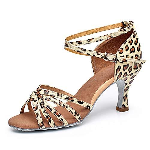 ZLYZS Zapatos Latinos para Mujer, Zapatos De Salón Profesionales Antideslizantes con Estampado...